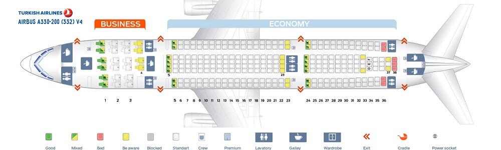 Схема салона А330 200 Turkish Airlines