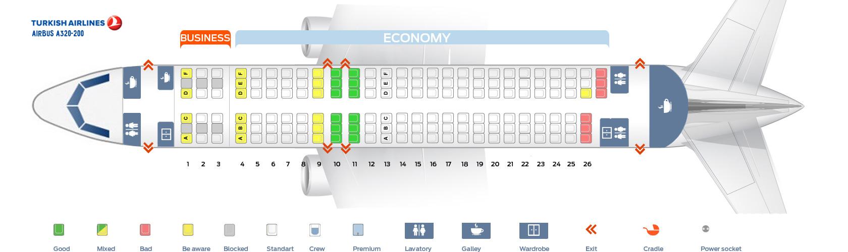 Схема салона А320 Turkish Airlines