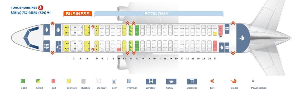 Схема салона В737-900 Турецких авиалиний