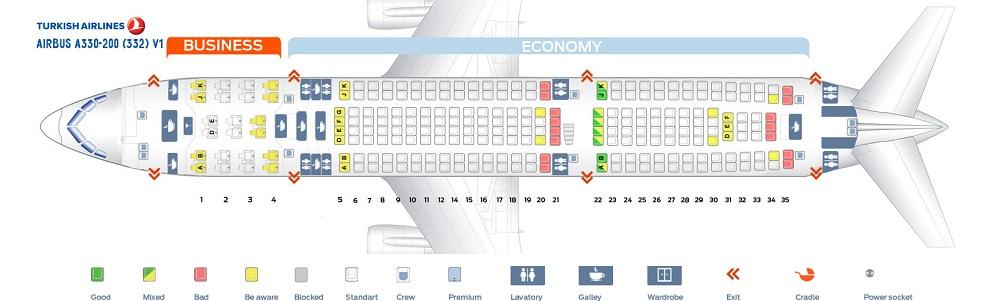 Airbus 330-200 Turkish Airlines - схема салона
